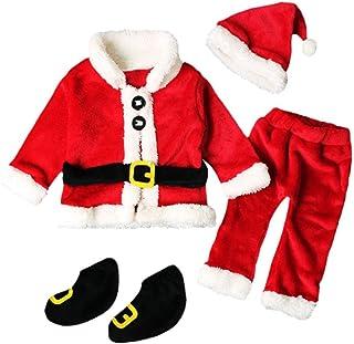 95b6c63f93394 4PCS Noël Vêtements Bébé Noël Costume Enfant Noël Bebe Tops Manteau  +Pantalons+Chapeau Bonnet