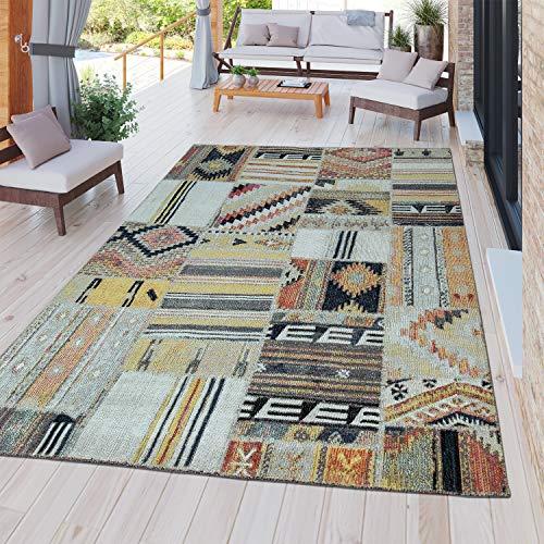 TT Home Alfombra Moderna Resistente Exterior E Interior Diseño Étnico Multicolor, Größe:160x220 cm
