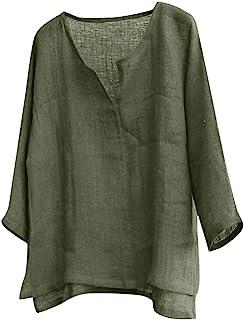 kolila Men Tops Shirts Cotton Linen Brief Breathable Comfy Solid Color Long Sleeve Loose Casual T Shirt Blouse
