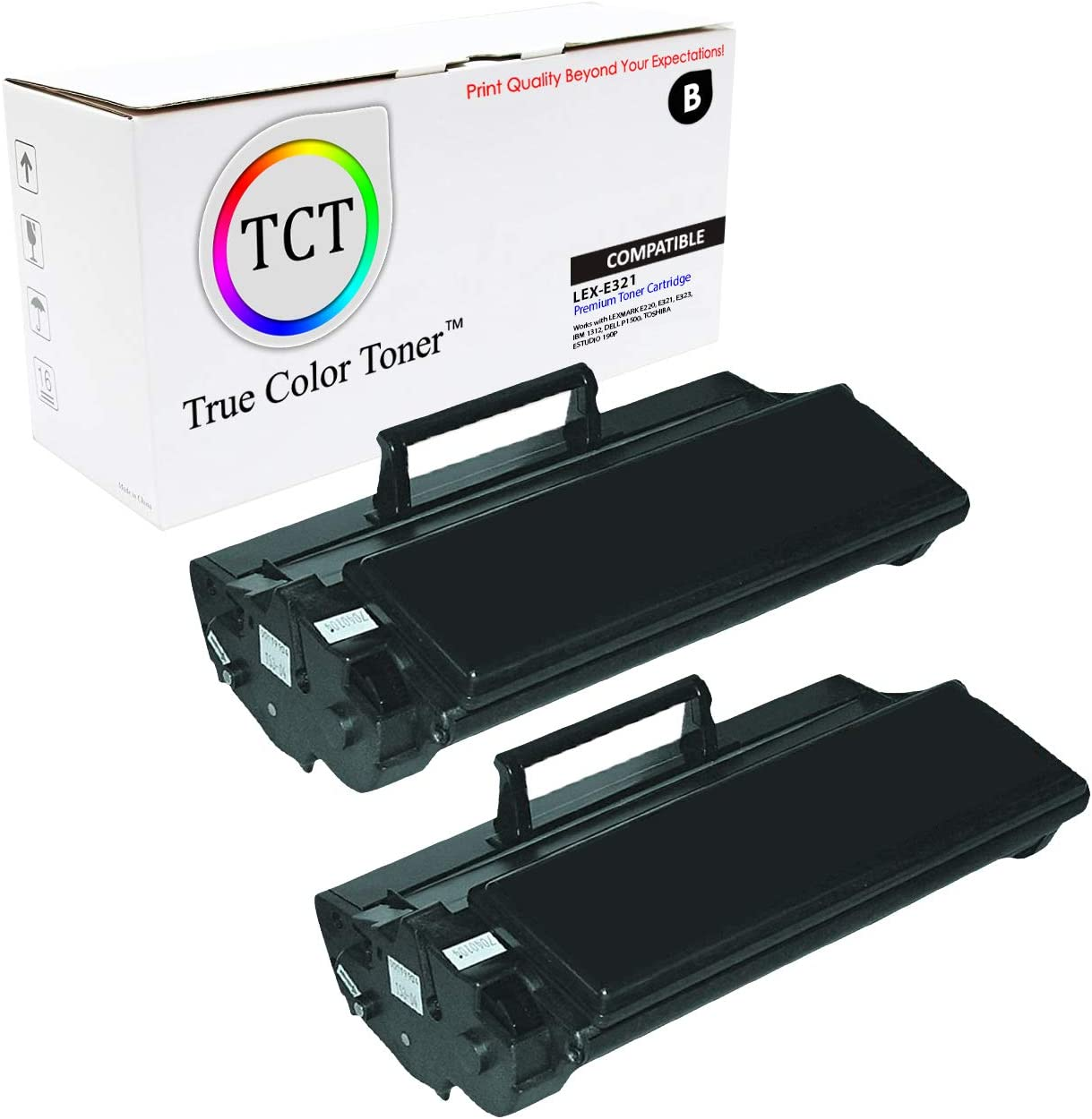 TCT Premium Compatible Toner Cartridge Replacement for Lexmark E321 12A7305 Black Works with Lexmark E220 E323, IBM 1312, Dell P1500, Toshia eStudio 190P Printers (6,000 Pages) - 2 Pack