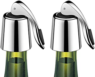 ERHIRY Wine Bottle Stopper Stainless Steel, Wine Bottle Plug with Silicone, Expanding Beverage Bottle Stopper, Reusable Wi...
