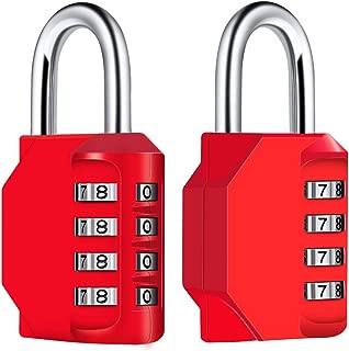 Diyife 2 Pack Combination Lock 4-Digit Padlock, Weatherproof Metal & Plated Steel Combination Lock for School, Gym & Sports Locker, Hasp Cabinet & Storage - Red