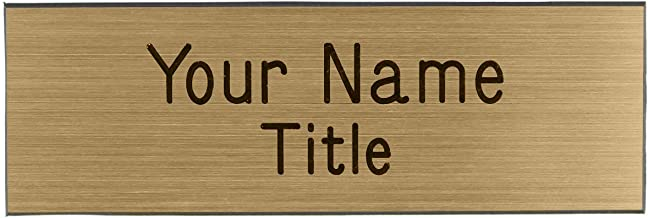 Name Badges - Name Tags - Custom Engraved with Magnet Fastener (Brushed Gold/Black)