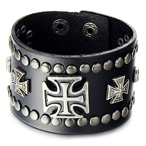 COOLSTEELANDBEYOND Punk Große Herren Leder-Armband Schwarze Leder Armreif mit Kreuz und Nieten