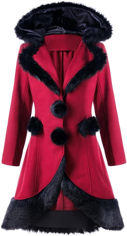 HP95(TM) Women Warm Long Coat Lace Thick Parka Overcoat Winter Pompom Outwear