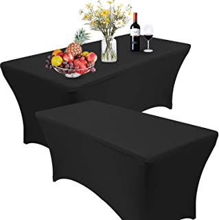 Reliancer 2 Pack 468FT Rectangular Spandex Table Cover Four-Way Tight Fitted Stretch Tablecloth Table Cloth for Outdoor Party DJ Tradeshows Banquet Vendors Weddings Celebrations (6FT, Black)