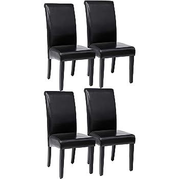 SONGMICS Esszimmerstuhl, 2 Sets, insgesamt 4 STK, Polsterstuhl mit hoher Rückenlehne, PU, weich gepolstert, schwarz LDC21B02