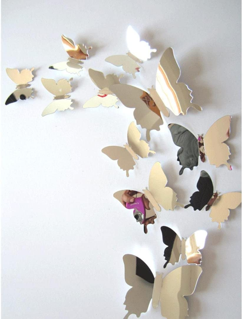 Bokeley 12Pcs 3D Butterfly Wall Stickers Decal Mirror Wall Art Home Decors (Silver)