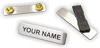 Uniform Name Badge, Military/Police Style with Clutch or Magnet Back, Laser Engraved Steel