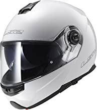LS2 Helmets Strobe Solid Modular Motorcycle Helmet with Sunshield (White, X-Large)