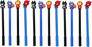Hoocozi 12Pcs Cute Superhero Topper Gel Ink Pens for Boys Kids Students, Black 0.5mm Fine Point for Writing and Drawing, Party Favors(4 Heros Mixed)