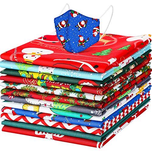 12 Telas Grandes de Navidad Tela Estampada de Algodón de Navidad Paquetes de Tela con Patrón de Muñeco de Nieve Papá Noel para Manualidades Navideñas Protector Facial (15,7 x 19,7 Pulgadas)