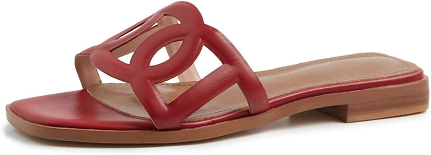 Longbao Women 2019 Arrival Concise shoes Genuine Leather Shallow Basic shoes shoes Woman Rome Square Sandals