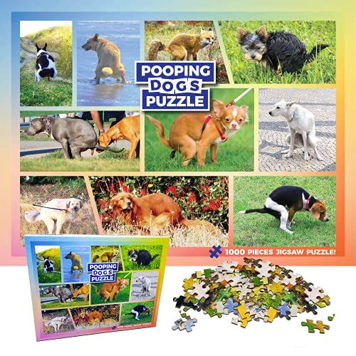 Pooping Dogs 1000 Piece Dog Puzzles for Adults - Funny Gift Dog Poop Gag Jigsaw Puzzles for Dog Lovers & Puppy Owners - 1000 Piece Jigsaw Puzzle