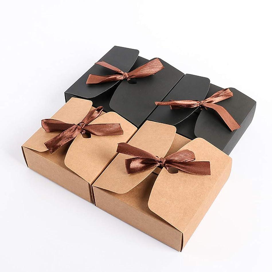お願いします水曜日ホーンリボン結婚式の好意ベビーシャワーの好意ボックスパーティーギフトボックス付き10個クラフトボックス (17.5x11.5x5cm, カーキ)