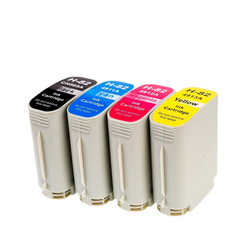 LCL(TM) 82 CH565A C4911A C4912A C4913A (4-Pack Negro Cian Magenta Amarillo) Cartuchos de Tinta Compatible para HP Design Jet Printers 510: Amazon.es: Electrónica