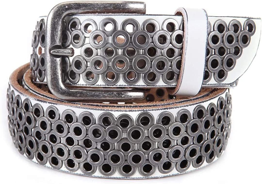 Womens Casual Studded Belt Leather for Rock Jeans OFFicial Grommets Max 57% OFF with