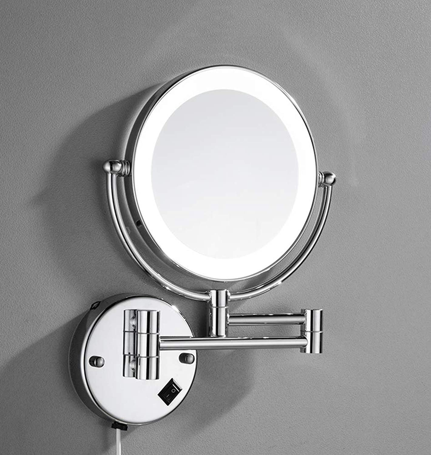 8  LED Double Sided Swivel Wall Mount Vanity Mirror-3X Magnification,17.4 Inch Extension,High color Light Source,Chromium, Punch Free for Easy Inssizetion