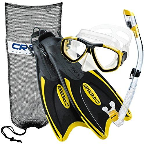 Cressi Italian Design Palau Long Fins - Focus Ultra-Clear Tempered Glass Scuba Snorkel Mask - Purge Dry Top Snorkel - Mask Fin Snorkel Set, YL-XS/S