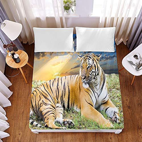 Chickwin3DTigre FittedSheetsPremiumMicrofibreBeddingSheetswithDeepPocket30cmforDoubleKingSingleSizeBed-ShrinkageFadeResistantEasyCare (Forest Tiger,140x200x30cm)