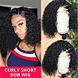 West Kiss Hair Curly Bob 13x4 Lace Front Wigs Human Hair Glueless Lace Front Wigs Pre Plucked With Baby Hair Deep Curly Short Bob For Black Woman (10 inch)