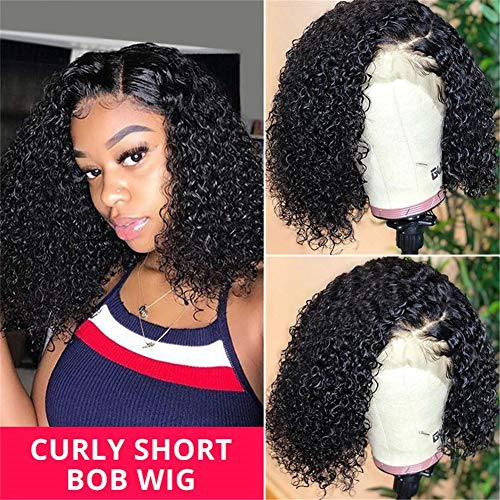 Short Curly Bob Wigs West Kiss 13x4'' Lace Front Bob Wig Glueless Human Hair Wig Pre Plucked With Baby Hair (10 inch)