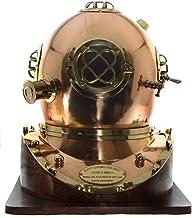 Nagina International Full-Size Replica Us Navy Mark V Brass Diving Helmet Wood Base