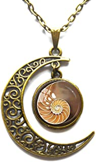 Moon Necklace, Crescent Necklace, Dainty Necklace, Delicate Necklace, Spiral Pendant Chambered Nautilus Necklace Sacred Geometry Jewelry Brown Yellow Shell Necklace Shell Jewelry Jewelry