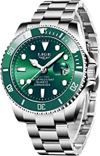 Mens Watches Fashion Stainless Steel Analog Quartz Watch Men Sports Waterproof Watches Chronograph Luxury Brand LIGE Casua...