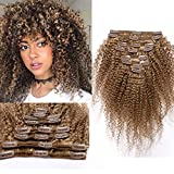 35cm - Extension Clip Capelli Veri 8 Fasce Afro Extensions #27 Biondo Scuro 110g Double Weft 18...