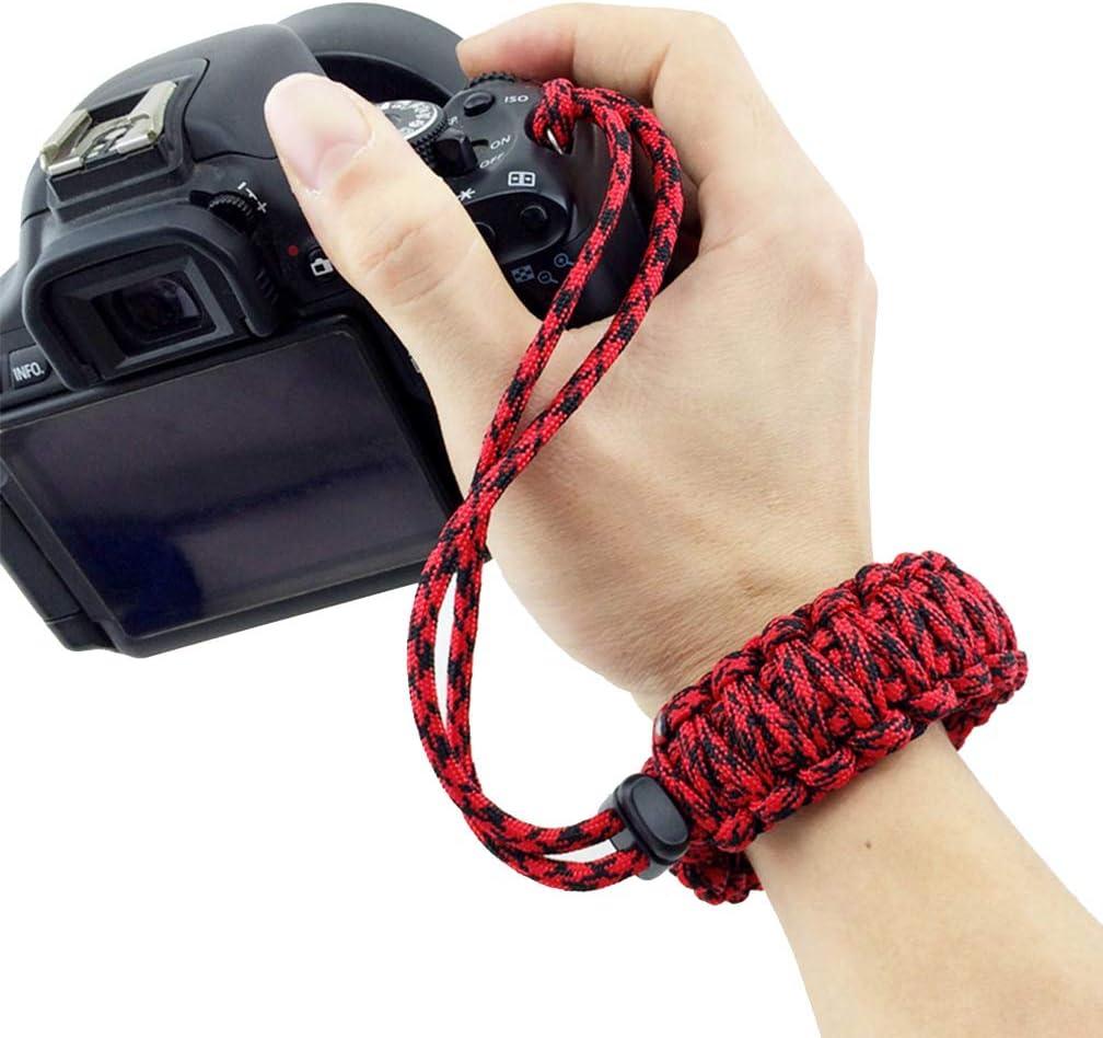 Maveek Camera Wrist Strap Braided 550 Paracord Lanyard Parachute Cord Adjustable Wristband Bracelet Hand Grip Strap for Video Camcorder Binoculars and Digital Camera Black