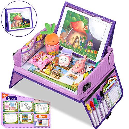 Jojoin Violett Kinder Reisetisch, Knietablett Reisetisch mit Multifunktionaler Laptoptasche und Fächern mit großem Fassungsvermögen, langlebig, bester Begleiter für Kinder auf Reisen und zu Hause
