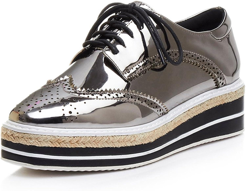MINIVOG Platform Wingtips Square Toe Women Oxfords shoes (6 B(M) US, Gun)