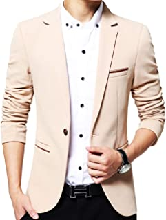 GEEK LIGHTING Slim Fit Single One Button Blazer Jackets for Men