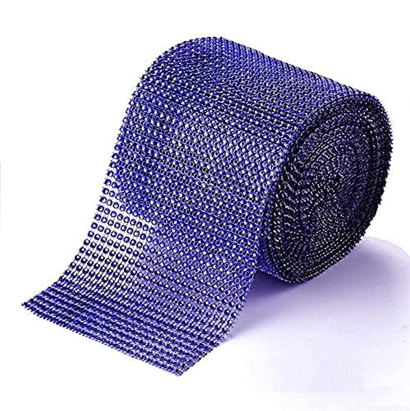 Diamond Rhinestone Mesh Ribbon Supreme Quality Sparkling Bling Wrap Ribbon Bulk DIY Roll for Arts Crafts Party Decorations, RoyalBlue, 4.75