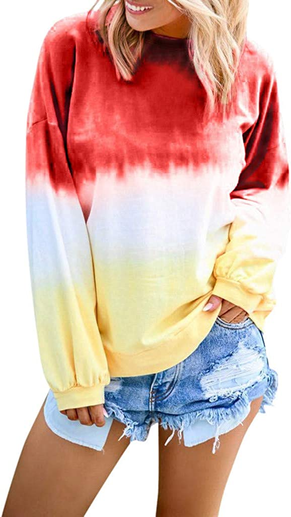 AODONG Sweater for Womens Long Sleeves Fashion Tie Dye Sweatshirts Pullover Tops Printed Tunics Sweat Shirt