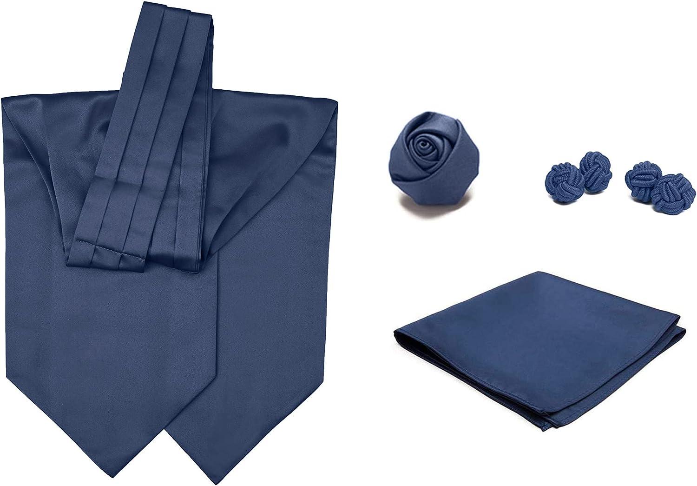 4 Piece Set: Jacob Alexander Men's Solid Color Cravat Ascot Neck Tie Rose Lapel Flower Pocket Square and Cufflinks