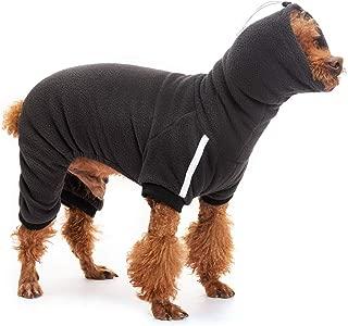 EXPAWLORER Fleece Warm Dog Hoodies Casual Long Collar Head Covering Cowl Soft Plush Sweatshirt Costume Black