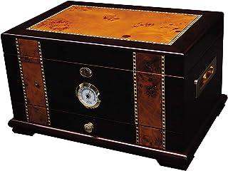 Solana Desktop Cigar Humidor, Rosewood With Maple-Burled Wood Inlay, Spanish Cedar Tray,..