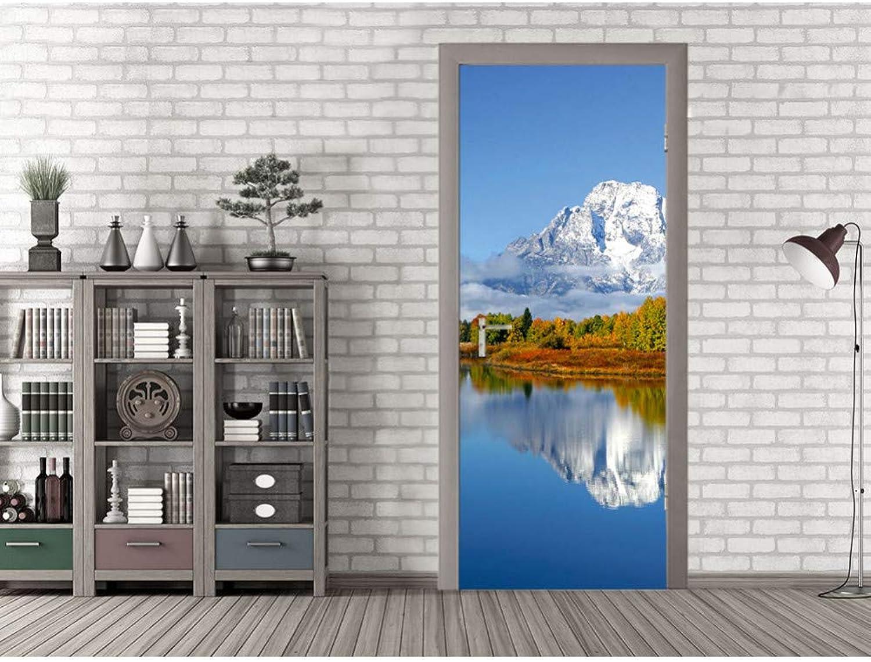 Para tu estilo de juego a los precios más baratos. QTZLKF QTZLKF QTZLKF Pegatina De Parojo 3D Lake Below Snow Mountain Art Door MuralAutoadhesivo Decoración para El Hogar  tienda en linea