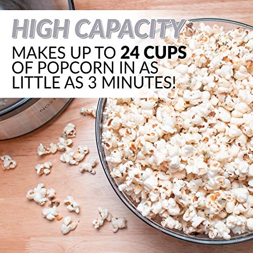 Product Image 8: Nostalgia Stainless Steel 6-Quart Stirring Speed Popper with Quick-Heat Technology 24 Popcorn, with Kernel Measuring Cup, Makes Roasted Nuts, Perfect for Birthday Parties, Movie Nights