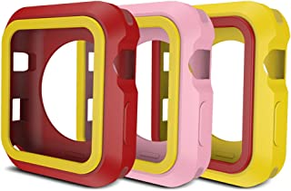 AWINNER Colorful Case for Apple Watch,Shock-Proof and Shatter-Resistant Protective iwatch Silicone Case for Apple Watch Series 3,Series 2,Series 1, Nike+,Sport,Edition (Pink,Red,Yellow, 38mm)