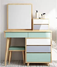 Bedroom Dressing Table Stool Set - Makeup Table Cosmetics Dressing Table with HD Mirror,for Apartment Bedroom Furniture De...