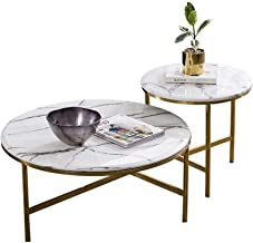 Nesting Coffee Table Sets Side Table with Marble Desktop, Living Room Furniture Sofa End Table Modern Stacking Tables