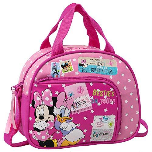 Disney Neceser con Tasca Frontale, Bambini, Minnie & Daisy, Rosa