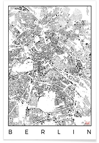 "JUNIQE® Stadtpläne Berlin Poster 20x30cm - Design ""Berlin Map Schwarzplan"" entworfen von Hubert Roguski"