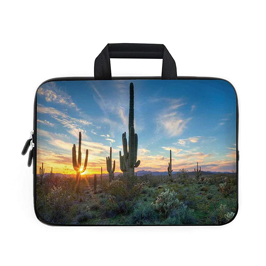 Saguaro Cactus Decor Laptop Carrying Bag Sleeve,Neoprene Sleeve Case/Sun Shine is Setting Between Cactus Spines Magical Noon Landscape Wild Design/for Apple Macbook Air Samsung Google Acer HP DELL Len