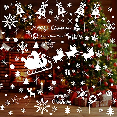 WELLXUNK Finestra Sticker,Adesivo Fiocco di Neve Natale,Natale Decorazione PVC Vetrofanie,Fiocco di Neve Decorazioni Natalizie,Natale Vetrofanie Rimovibile Adesivi