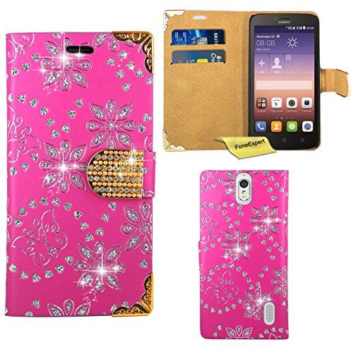Huawei Y625 Handy Tasche, FoneExpert® Bling Luxus Diamant Hülle Wallet Hülle Cover Hüllen Etui Ledertasche Premium Lederhülle Schutzhülle für Huawei Y625 (Rosa)