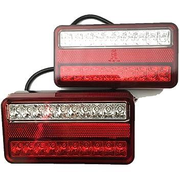 12V 20連 LED テール ランプ 左右 セット 防水 ウインカー ブレーキ ライト 汎用 パーツ トラック トレーラー デコトラ ボート 等